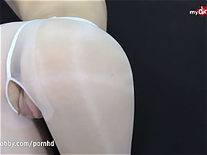 German snatch in tights gets tucked and creamed