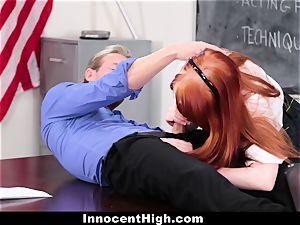 InnocentHigh - ultra-cute ginger-haired schoolgirl smashes Drama teacher