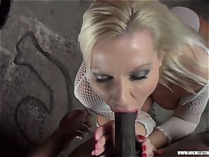 messy blonde babe bj's boob drains humps ginormous dark-hued trouser snake