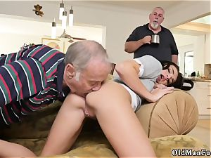 My nubile neighbor first-timer riding the aged cock!