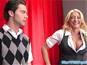 Smoking super-steamy student with thick knockers facialed