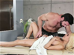 Married blonde sweetheart getting kinky by a muscled masseuse