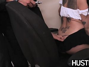 youthfull assistant Raven Bay earns facial cumshot with her vulva