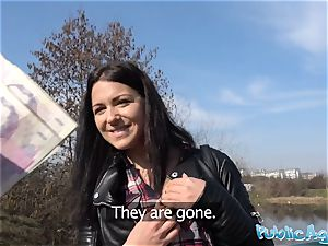 Public Agent Russian waitress drilled outside in public