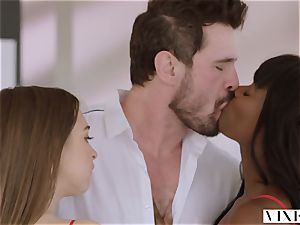 VIXEN Riley Reid has powerful three-way with Ana Foxxx and boyfriend