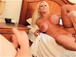 schlong fellating ultra-kinky 3some Alura Jenson and fellow gives a helping forearm