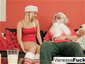 Vanessa letting Santa plow her taut raw muff