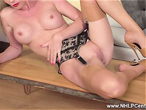 platinum-blonde frigging wet cooch in antique nylons high stilettos