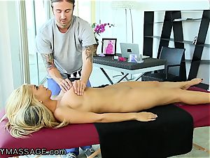 FantasyMassage big-chested babe orders rubdown In Office