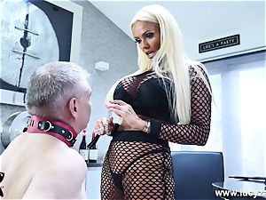 mischievous dominatrix Lucy Zara whips demolishes miserable old victim