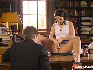 Headmistress Eva Lovia plays with her insatiable schoolgirl