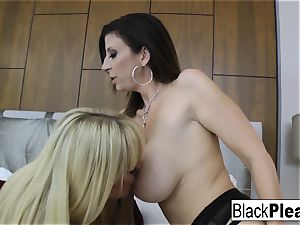 two big-titted cougars share a thick black spunk-pump
