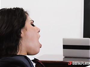 instructor stuffs his phat salami into college girl Gina Valentina