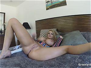platinum-blonde honey Brooklyn records herself tugging