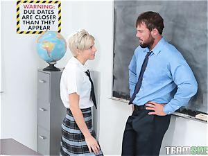 insane ash-blonde teenager Makenna Blue riding her schoolteachers trunk