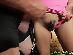 Latina babe wanking manmeat