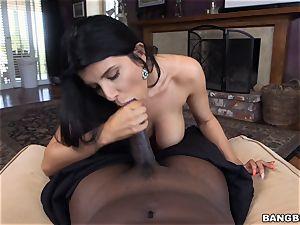 buxomy brunette Romi Rain thrashed by a masive dark-hued prick