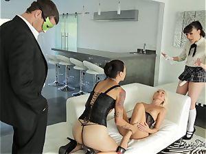 hard-core slit thrashing activity with three insatiable babes