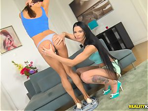 Lovenia Lux and Roxy Dee kinky pussy gobbling and hard cooch thrashing foursome
