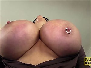 PASCALSSUBSLUTS - Shannon breasts ball-gagged before tough ass fucking