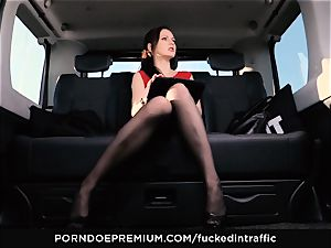 torn up IN TRAFFIC Tina Kay footjob in the backseat