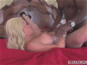 Alura Jenson gets her pretty mouth filled with stiff dark-hued beef whistle