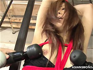 corded japanese chick got her cooter toyed by super-naughty weirdos