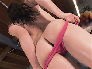 Boxing babe Casey Calvert stroking in the boxing club
