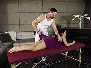 smallish Gina Valentina gets greased up and groped