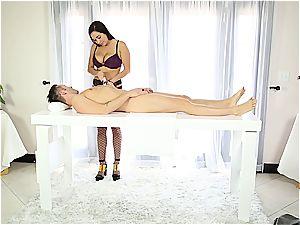 marvelous masseuse wanking bashful stud