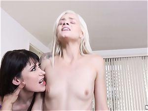Milfy momma Eva Karera trains beauty Elsa Jean how to suck ample dick