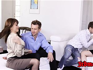 huge-boobed cougar four way plumbing until climax