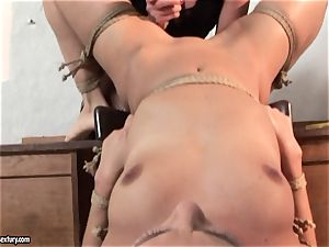 Kathia Nobili tie slim stunner on table and faux-cock plow