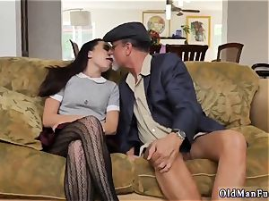 ample dark-haired first-timer riding the senior shaft!