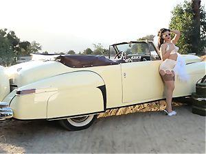 Lana Rhoades vintage car poon play