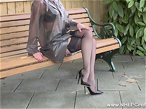 super-naughty milf strokes in public in nylons garters stilettos