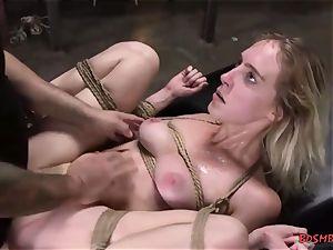 blondie sweetie gets penetrated rock-hard in restrain bondage
