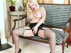 curvaceous blondie wanks in grey nylons and high stilettos