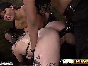 buzzed goth female rock hard fuck-a-thon with 2 soldiers