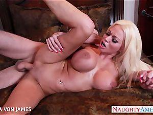 salacious ash-blonde Nikita Von James ride a humungous boner