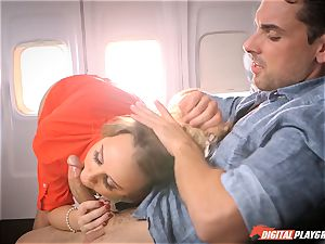 horny stewardess Alexis Adams banging with the passengers